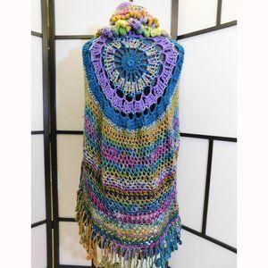 Crochet BoHo Hi Low Poncho Large/XL